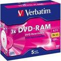 Obrázok pre výrobcu Verbatim DVD-RAM [ jewel case 5 | 4.7GB | 3x | no cartridge ]