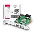 Obrázok pre výrobcu AXAGON PCEU-232V, PCIe adapter 2+2x USB3.0, UASP, nabíjení 3A, VIA + LP