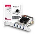 Obrázok pre výrobcu AXAGON PCEU-43VQ, HQ PCIe adapter 4x USB3.0, UASP, nabíjení 3.8A, VIA + LP